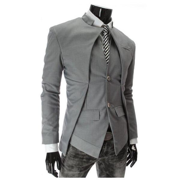 Wholesale- 2016 New Arrival Casual Slim Stylish fit One Button Suit men Blazer Coat Jackets Male Fashion Dress Clothing Plus Size M-XXXL
