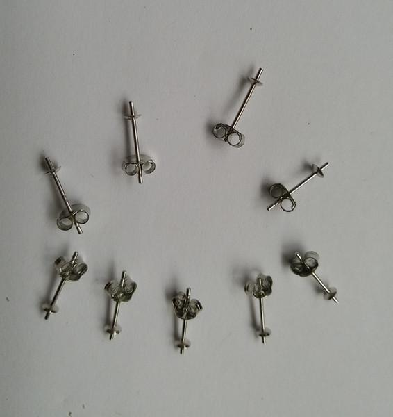 2 Pairs (4 Piece) / set Sterling Silver 3mm Earrings Post   Earrings Stud Setting Pearl Cup W / Earnut Safety Back