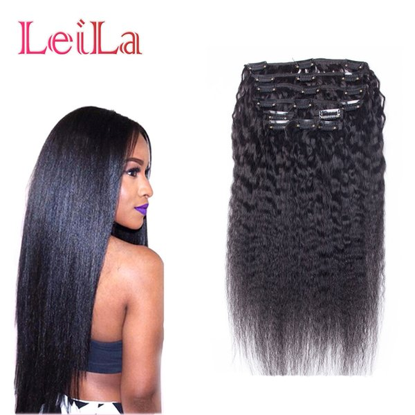 top popular Brazilian Human Hair Coarse Yaki Straight 7Pieces SET Kinky Straight Clip In Human Hair Extensions Natural Black Human Hair Weaves 2019