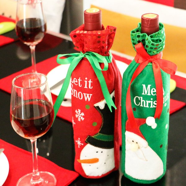 Christmas Wine Bottle Covers Red Wine Bags Decoration Santa Snowman Style With Red Pretty Tie 2Pcs With Retail Package Drop Shipping
