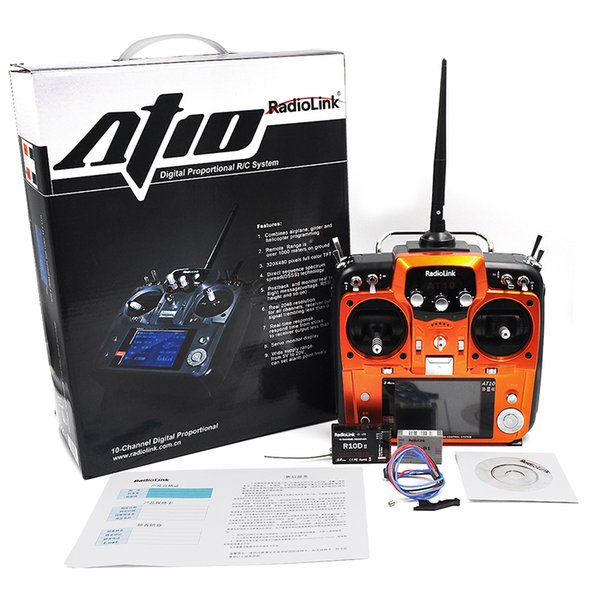 Wholesale- RadioLink AT10 RC Transmitter 2.4G 10CH Remote Control System with R10D Receiver for RC Airplane Helicopter