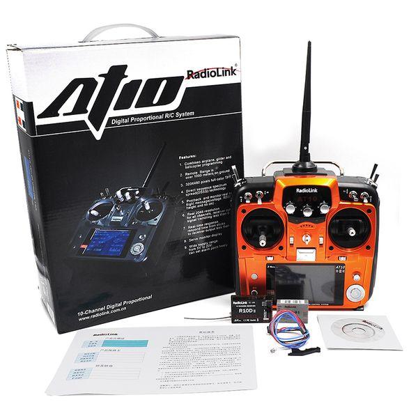 Trasmettitore radio WholesaleLink AT10 RC 2.4G 10CH Telecomando con ricevitore R10D per elicottero RC Airplane