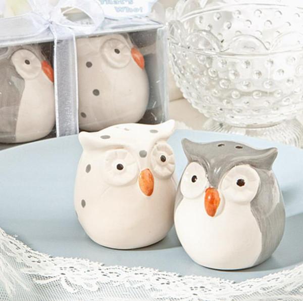 120pcs = 60sets / lot Hochzeits-Bevorzugungen und Geschenke Baby-Dusche-graue und weiße Farbe-Eulen-keramischer Salz-und Pfeffer-Rüttler geben Verschiffen frei