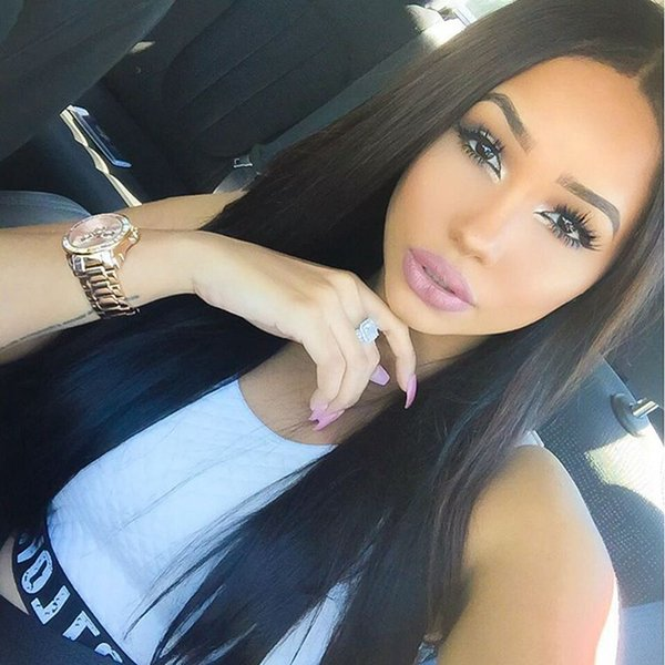 Cheap 100% Human Hair Full Lace Wigs Silky Straight Left Part Indian Remy Hair Lace Front Wig With Baby Hair For Black Women