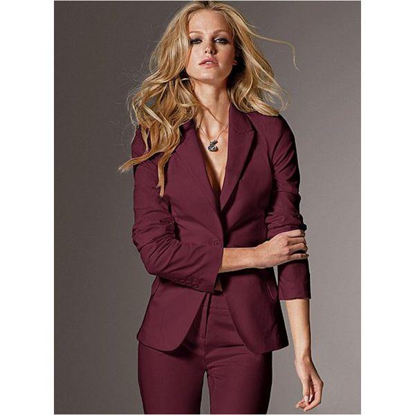 Women Evening Pant Suits Women High Quality Custom Made Wine Slim Suit Office Ladies Work Wear Pants Suits Formal Female 2pcs (Jacket+Pants)