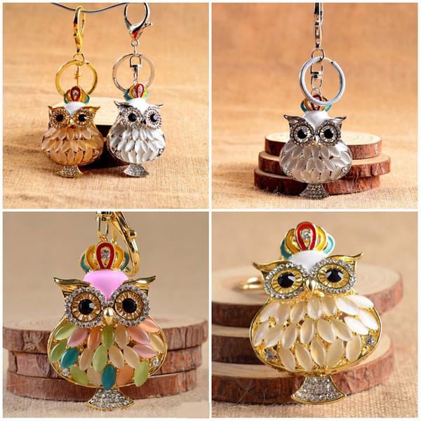 Kimter 3 Styles Cute OWl Charm Blingbling Keychain Crystal Rhinestone Pendant Keyring Owl Design Key chain Promotion Gifts C10L
