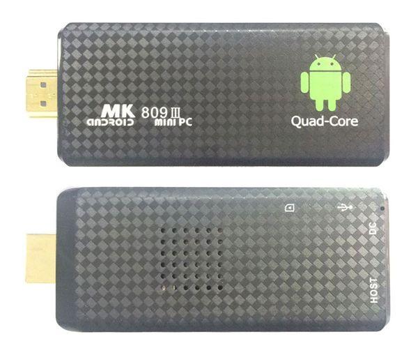 6PCS MK809 Quad Core TV Box Stick Media Player Google Android RK3229 2 GB di RAM 8 GB HDMI Smart TV Dongle 1200+ TV in diretta 1000+ VOD