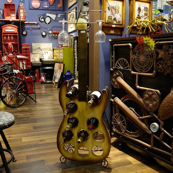 Wrought Iron Guitar-shape Red Wine Rack Glass Holder Furnishing Articles For 11 Bottles & 4 Glasses HG11515