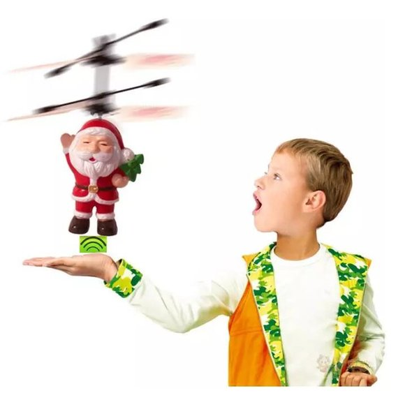 Electric Infrared Sensor Flying Santa Claus Induction aircraft Toys RC Helicopter Drone Toy Kids Christmas Gifts