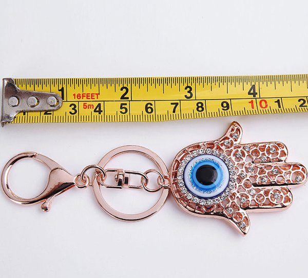 Mode Keychain Hand der Fatima Blue Evil Eye Hamsa Hände Anhänger Handtasche Charms Schlüsselanhänger Schlüsselanhänger Schlüsselanhänger Ketten Halter für Frauen / Männer