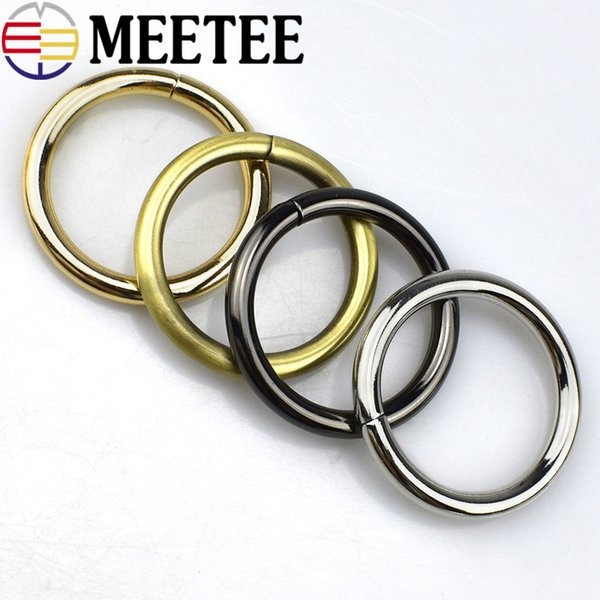 MEETEE Open Ring Strap Connecting Round Buckle Chain snap Hook clasp 3.2 cm hang buckle metal fitting Bag Hardware Accessories