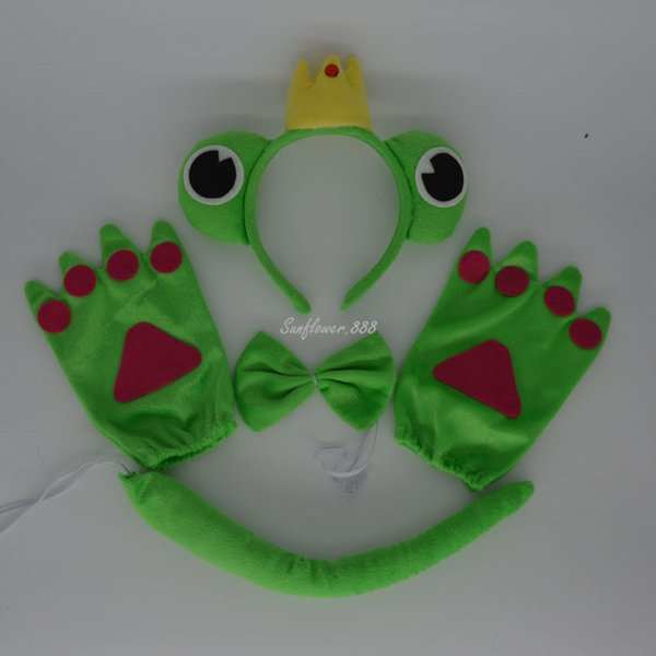 2017 Green Prince Frog Headband Bow Tie Tail Paws Gloves Cosplay Costume Accessories For Kids Adults Halloween Party Favor Gift