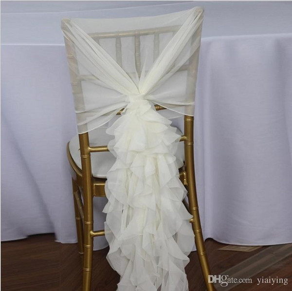 Ruffled Chair Sashes White Ivory Champagne Chair Covers Custom Made Organza Tulle Wedding Supplies Chair Decorations Fast Shipping