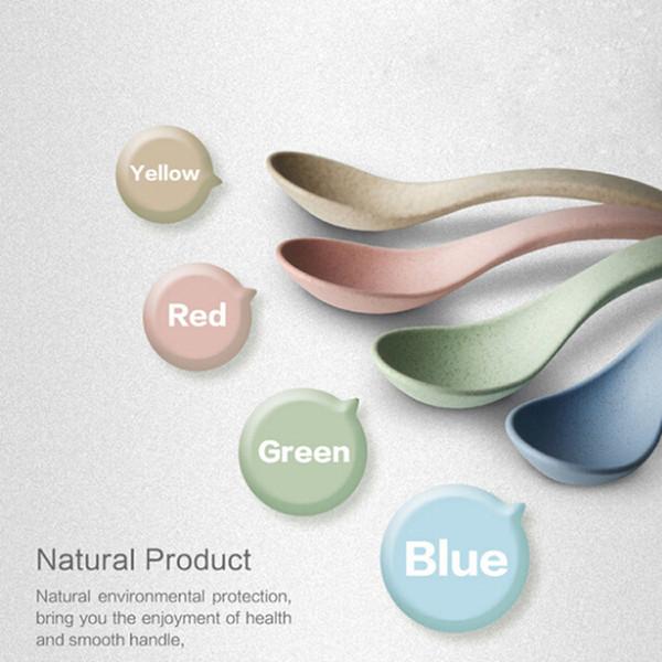 Wholesale- New Soup Spoon Creative Household Spoon Tableware Plastic Wheat Straw Healthful Green 4pcs/set No Paint No Wax EJ879580