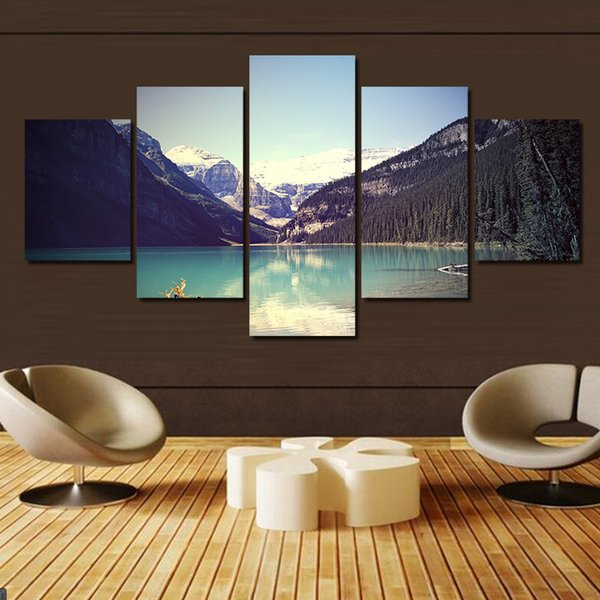 Unframed 5 Piece Hot Sell Modern Wall Painting Mountain Lake Home Art Pictures Paint On Canvas Print Decor For The House
