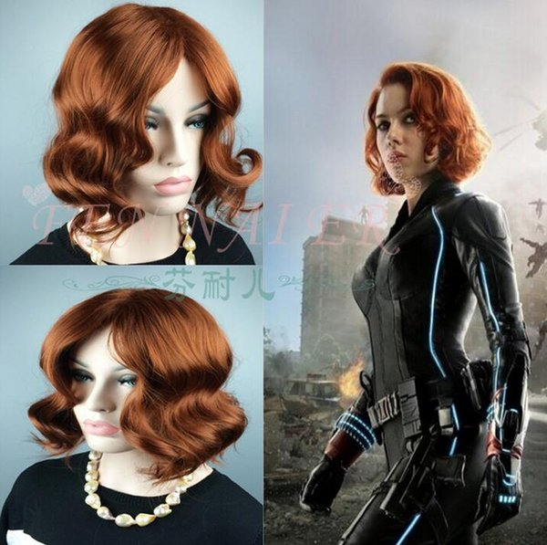 Avengers Age Of Ultron Cosplay Wig Marvel S The Avengers Black Widow Wigs Dark Brown Cosplay Short Curly Hair Hair Accessories For Kids Kids Hair