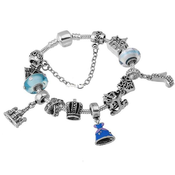 2017 New Original Jewellery Brand European Style Princess Dress Charm Beads Fit European Bracelets For Women