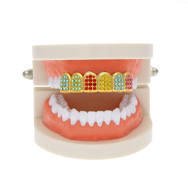 New Gold Color Iced Out Colorful CZ Rhinestone Hip Hop Teeth For Mouth Top teeth GRILLZ Caps Jewelry
