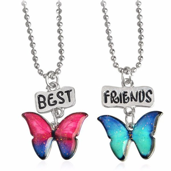 2pcs/set Enamel Butterfly Pendant Best friends Friendship Necklace Fashion Jewelry Sets for Women Kids Christmas Gift