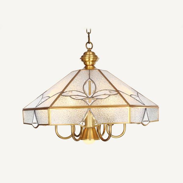 European Copper Living Room Pendant Light Study Room diamond Glass Shade Copper Pendant Lamp Bedroom Carved Pendant Light