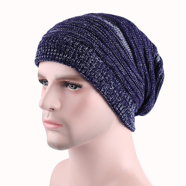 2017 newsest 5 color Winter Warm Casual Knit Hats For Men Baggy Beanie Hat Crochet Slouchy Oversized Ski Cap