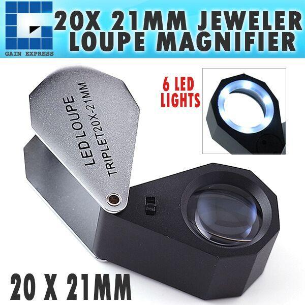 10X 21 mm Optique Objectif Verre 6 DEL Light Jeweler Eye Loupe Loupe Loupe