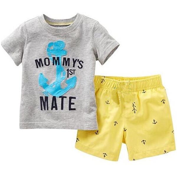 Grey Anchor Boy Clothes Suit Summer Baby Boys T-Shirts Pants Cotton Sailor Outfits Tee Shirt Panties 2Pcs Beach Sport Suits 2-7year Hot Sale