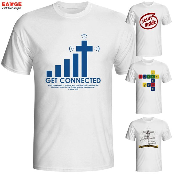 Wholesale- Get Connected To Jesus T Shirt Design Fashion Creative Pattern T-shirt Cool Casual Novelty Funny Tshirt Men Women Style Top Tee