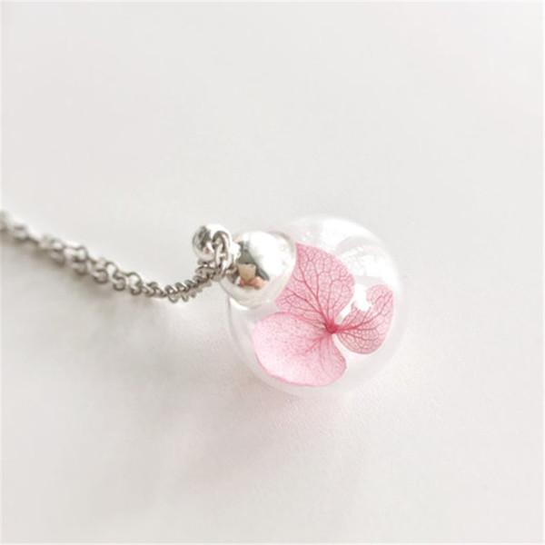 12pcs / lot getrocknete Blumen-Halsketten-feenhaftes Glaskugel-Terrarium-botanisches Waldland-wirkliche Blumen-Hochzeits-Rosa