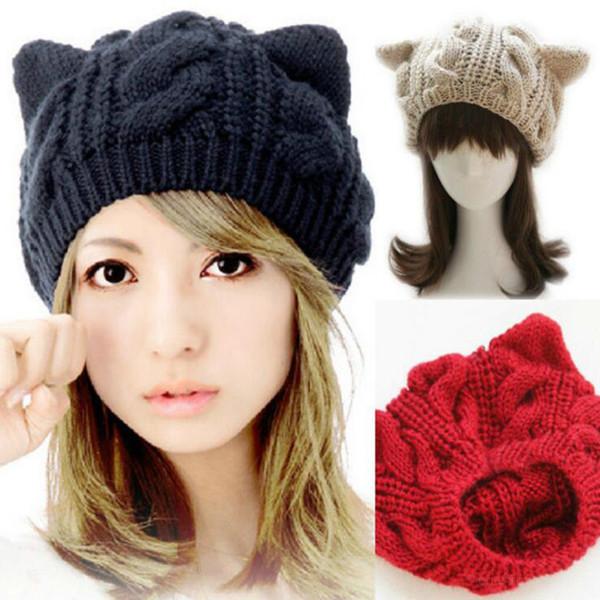 En gros-2016 nouvelle mode femmes chapeau laine tricoté bonnet mignon diable chat oreille sac bouffant filles hiver chaud béret doux au Crochet Boonie Bradied
