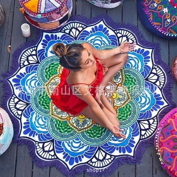 Beach Towel Large Round Mandala Printed With Tassel Tapestry Fashion Table Cloth Outdoor Shawl Picnic Blanket Yoga Cushion 24ag F