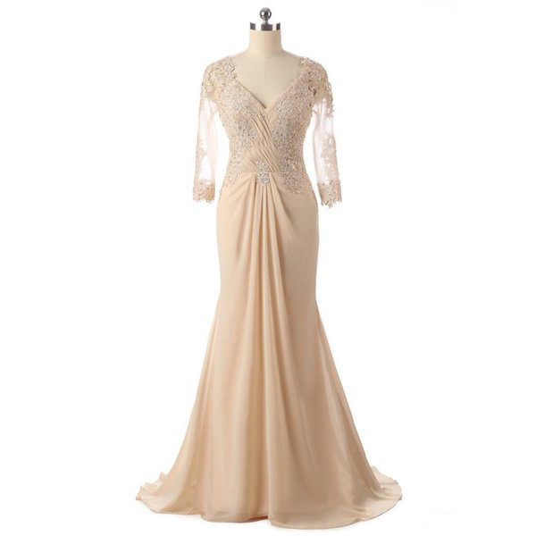 Actual Photo Champagne Mother of the Bride Dresses Transparent Long Sleeve V Neck Beads Lace Chiffon Mermaid Women Formal Gowns