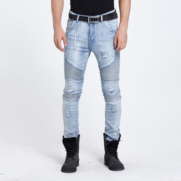 Wholesale- Hi-Street fashion brand Mens Ripped Rider Biker Jeans Motorcycle Slim Washed Black Blue Moto Denim Pants Joggers For Skinny Men