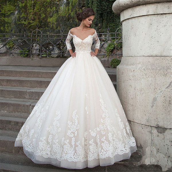 top popular Off the Shoulder Long Sleeves Wedding Dress Tulle V-Neck Backless Pearls Belt Appliqes Lace Ball Gown Court Train Custom Bridal Gowns 2021