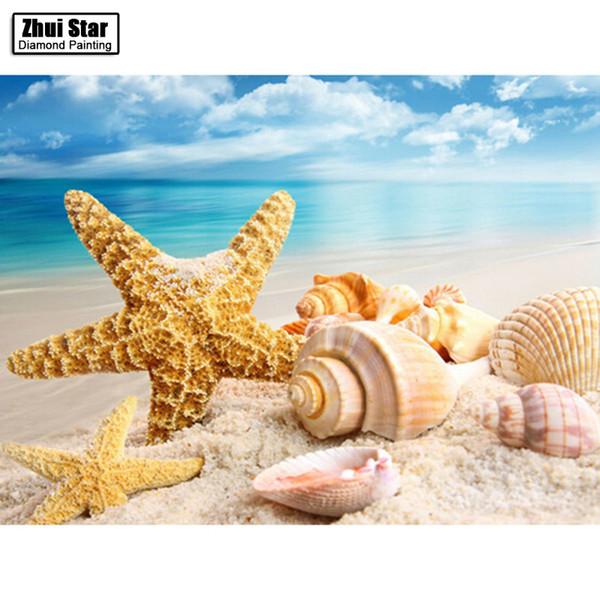 best selling DIY Diamond Painting Cross Stitch sea Shell starfish scenery Home Decor Full Rhinestone Mosaic 5D Diamond Embroidery