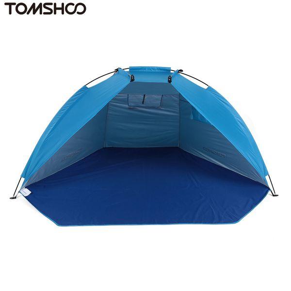 Al por mayor- TOMSHOO Carpa de playa al aire libre Sunshine Shelter 2 personas Carpa de sombrilla de poliéster 170T resistente para pesca Camping Senderismo Picnic Park