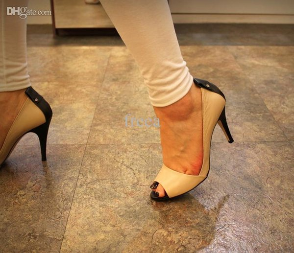 Wholesale-2015 New arrival style Fashion design PU and real leather peep toe high heels ladies high heel sexy shoes for woman sandals