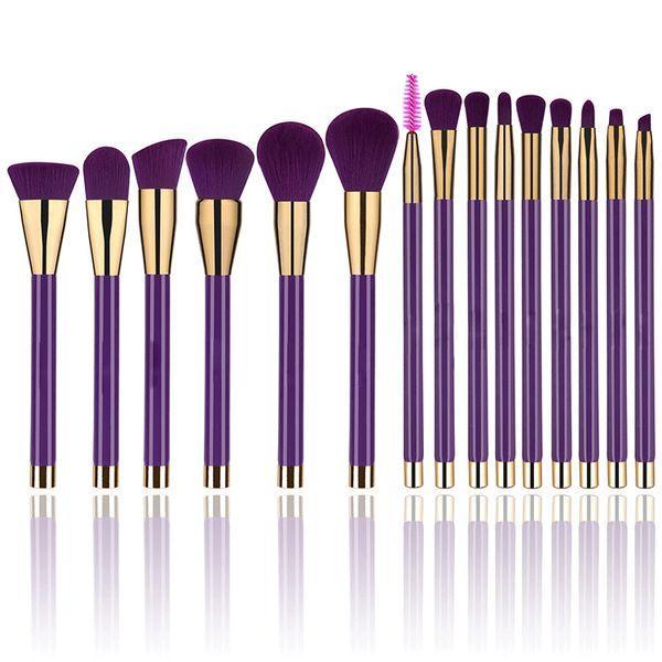 Synthetic Makeup Brush Set Eyelash Foundation Blending Blush Eyeliner Face Powder Makeup brushes(15 PCS,Golden Purple)