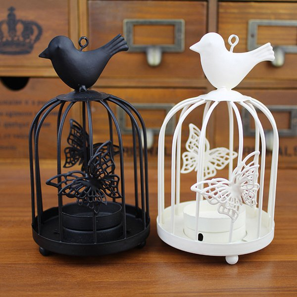 Iron candlestick candle holder fashion creative white birdcage hang on the tree or wall Home decoration