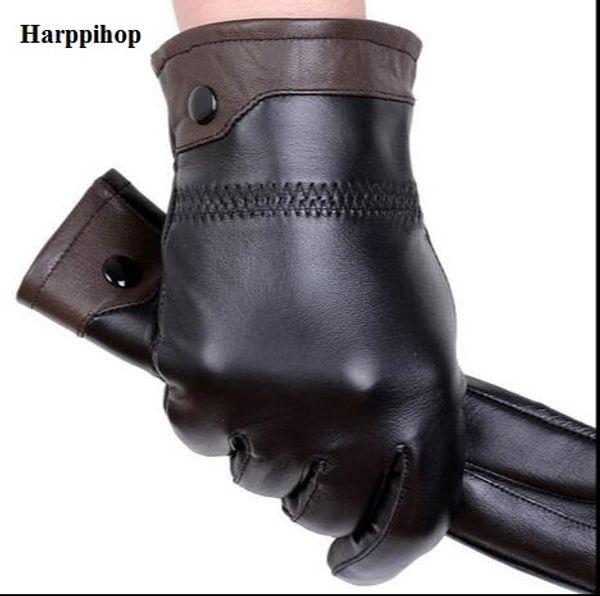 Al por mayor- Guantes de cuero genuino de alta calidad para hombres Otoño e invierno espesar guantes de piel de oveja de conducción cálida Envío gratis