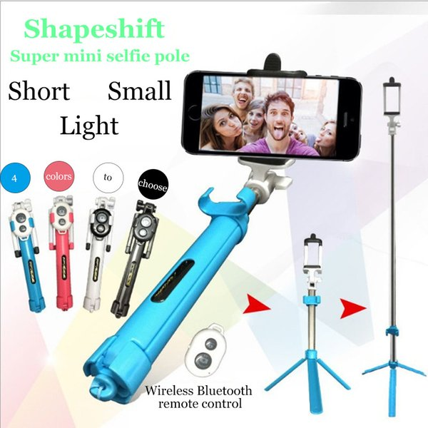 Multi function Selfie stick with Tripod bluetooth control monopod Extendable Self Portrait wireless Selfie Handled pole remote shutter Shoot