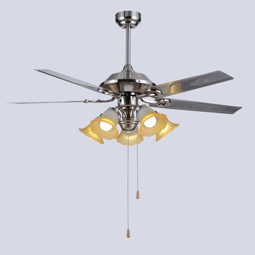Retro European American style LED ceiling fans lights 48 inches 124 cm 5 stainless steel blades leaves mute energy-saving ceiling fan