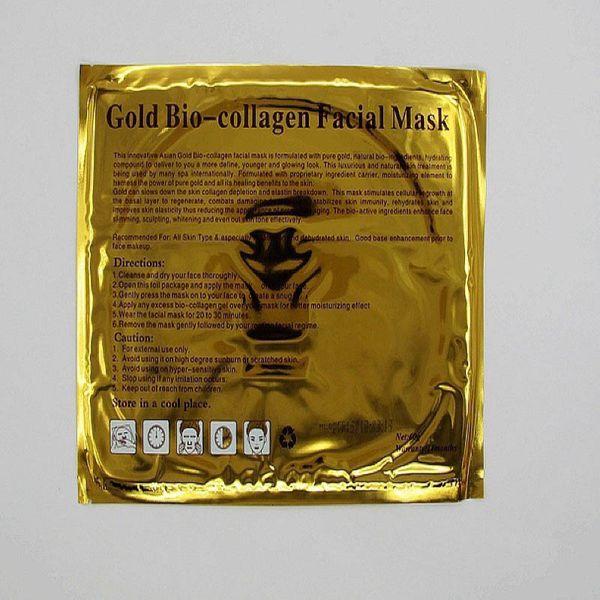 2015 hotsale Gold Bio-Collagen Facial Mask Crystal Gold Powder Collagen Facial Mask Moisturizing Anti-aging Face Mask 300pcs