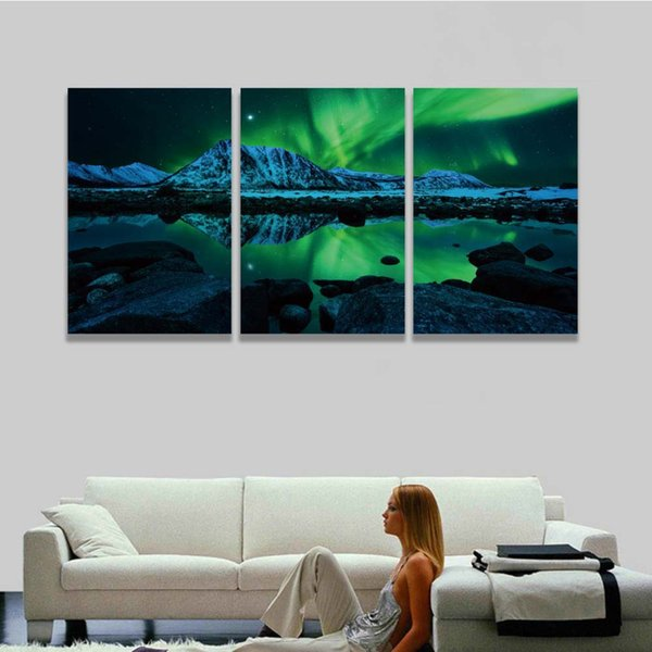 3 Panel Modern Canvas Prints Aurora Borealis Scenery Painting Natural Landscape Picture for Wall Home Decor Living Room Bedroom