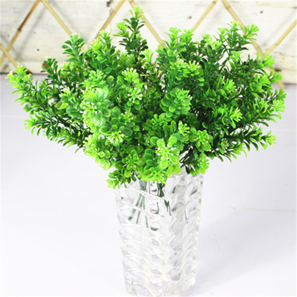 Wholesale- Cheap 7 branch/bouquet 35 heads artificial Green plant fake milan grass bonsai decoration leaf corner lawn decoration