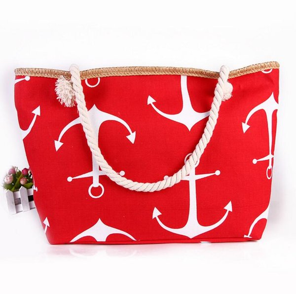 Boat Anchor Canvas Shoulder Bag Summer Anchor Printed Handbag Tote ...
