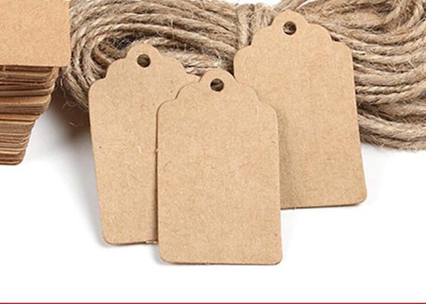 100Pcs DIY Kraft Paper Vintage Tags Brown Lace Scallop Head Label Luggage Wedding Note Blank price Hang tag Kraft Gift 5x3cm