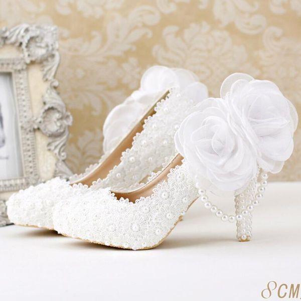 Koovan Wedding Shoes 2017 Fashion White Pearl Lace Flowers High Heel Women Shoe Bridal Shoes Women Wedding Shoes Woman Pumps Custom 5 Days