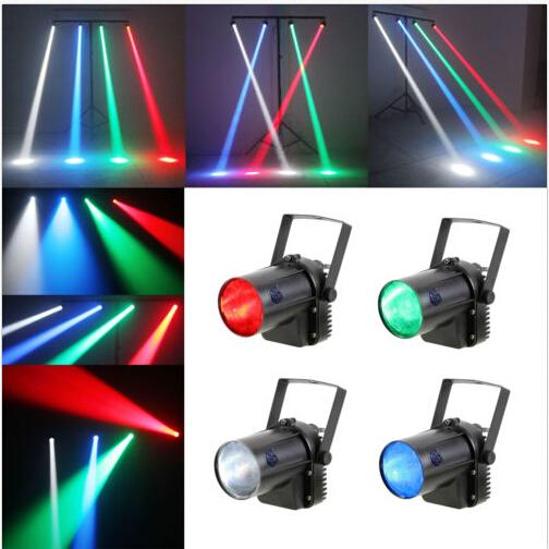 2017 RGBW de un solo color Afectan 5W LED Beam Spot Light blanco / rojo / verde / azul Party DJ Bar Stage Light Pinspot Lights Efectos Proyector lámparas