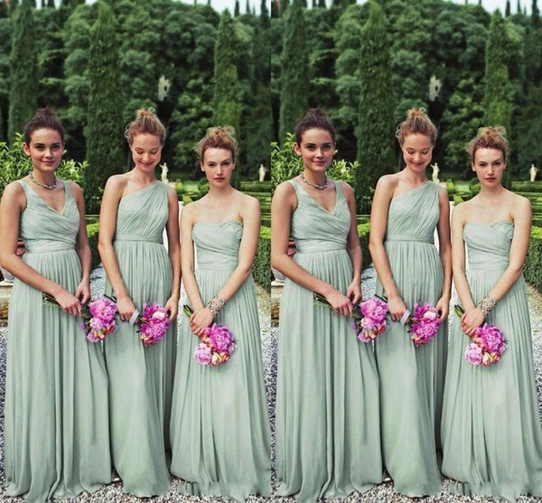 2019 Perfect Matching 3 Styles Long Mint Chiffon Bridesmaid Dresses One Shoulder A-line Floor Length Chiffon Bill Wedding Party 2y Prom Gown